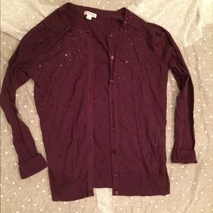 Target Merona button cardigan sweater purple L